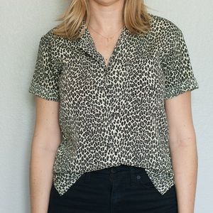 Vintage Cheetah Print Button-Up Top